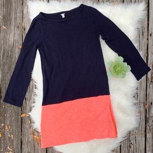 J. Crew Maritime Colorblock Dress Navy and Coral